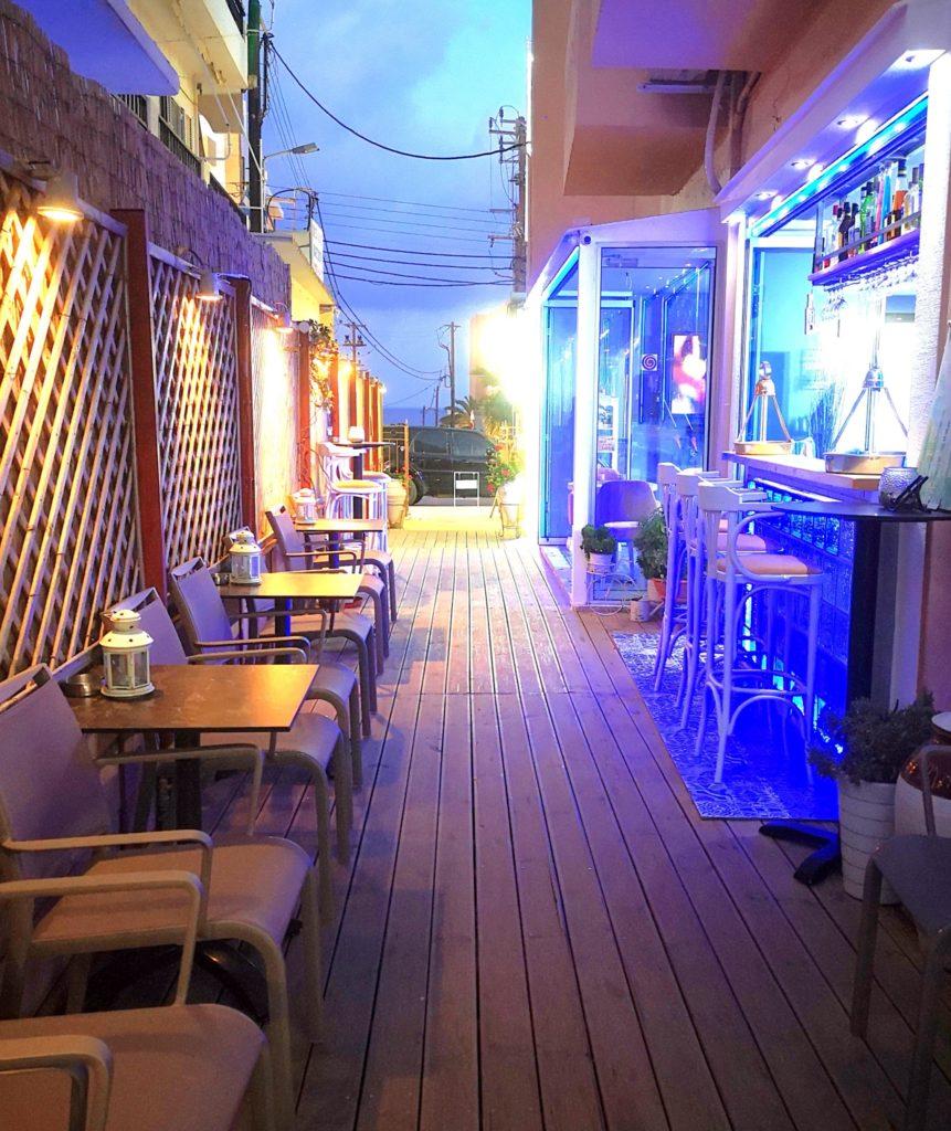 hotel lobby terrace at night